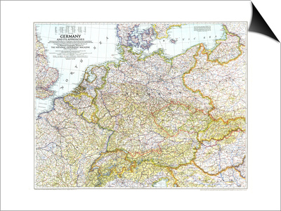 1944 Germany and Its Approaches 1938-1939 Map Print by  National Geographic Maps