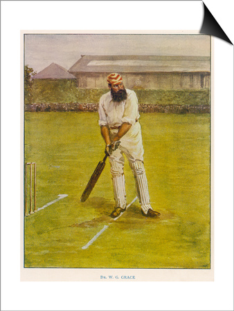 The Legendary Cricketer, Dr. W.G. Grace Poised with His Bat Prints