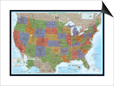 United States Political Map, Decorator Style Posters by  National Geographic Maps