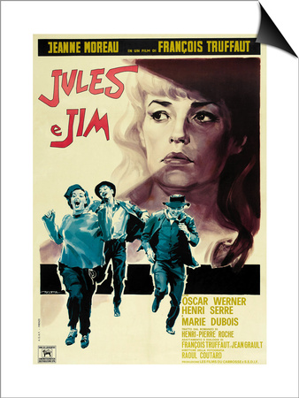 Jules and Jim, Italian Movie Poster, 1961 Print