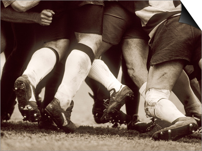 Detail of the Feet of a Group of Ruby Players in a Scrum, Paris, France Posters