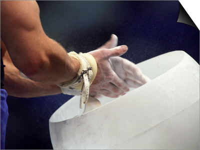 Detail of the Hands of Male Gymnast Preparing for Competition Prints by Paul Sutton