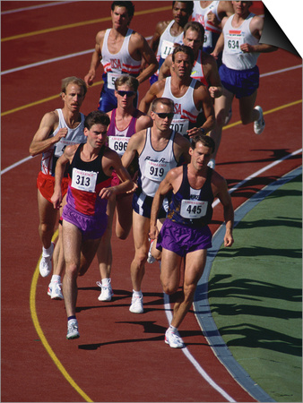 Male Runners Competing in a Track Race Posters