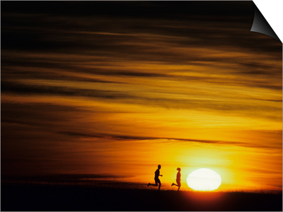 Couple Running at Sunset Print
