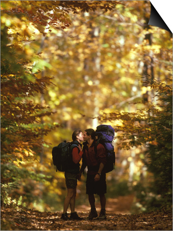Couple Kissing on the Trail During a Hike, Woodstock, New York, USA Art by Chris Cole
