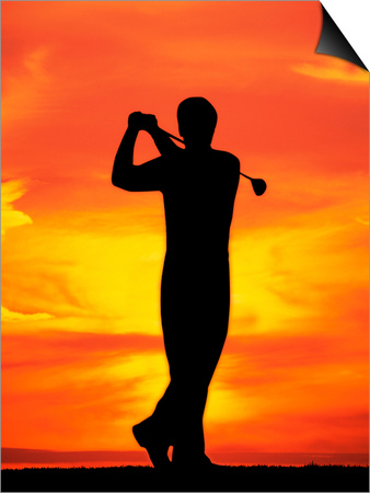 Silhouette of Man Playing Golf Posters by David Davis