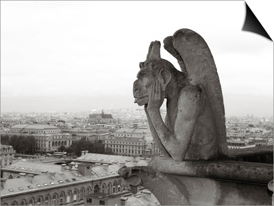 Gargoyle Statues at a Cathedral, Notre Dame, Paris, Ile-De-France, France Prints by  Panoramic Images