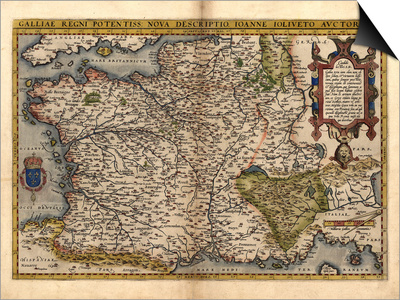 Ortelius's Map of France, 1570 Prints by Library of Congress