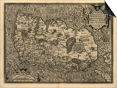Ortelius's Map of Ireland, 1598 Poster by Library of Congress
