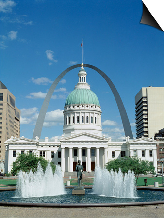 Fountains and buildings in city of st louis missouri united states