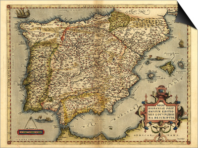 Ortelius's Map of Iberian Peninsula, 1570 Posters by Library of Congress