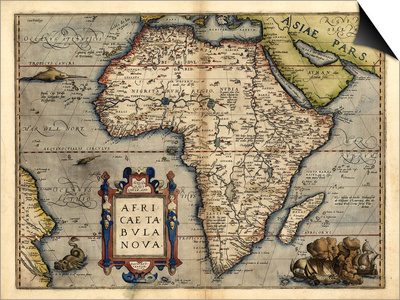Ortelius's Map of Africa, 1570 Print by Library of Congress