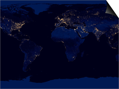 Flat Map of Earth Showing City Lights of the World at Night Print by Stocktrek Images