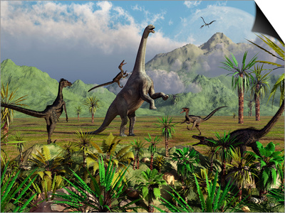 Velociraptor Dinosaurs Attack a Camarasaurus for their Next Meal Prints by  Stocktrek Images