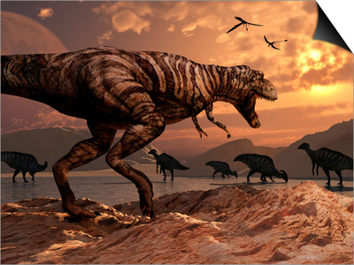 A T-Rex Plans His Attack on a Herd of Parasaurolophus Dinosaurs Prints by  Stocktrek Images