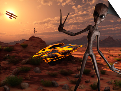 Grey Aliens at the Site of their UFO Crash Art by  Stocktrek Images