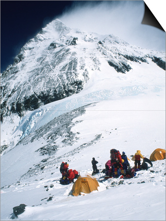 Tents on Southside of Everest, Nepal Print by Michael Brown