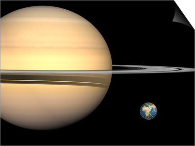 Illustration of Saturn and Earth to Scale Prints by  Stocktrek Images