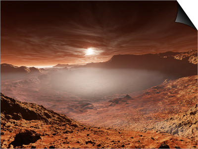 The Sun Sets over the Eberswalde Region of Mars Posters by  Stocktrek Images