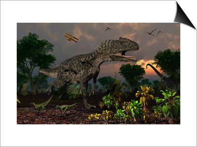 Prehistoric Dinosaurs Roam Freely Where Time Stands Still Prints by  Stocktrek Images
