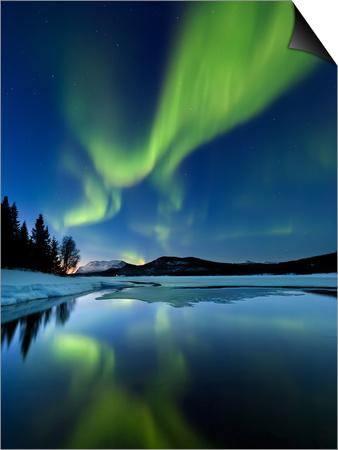 Aurora Borealis over Sandvannet Lake in Troms County, Norway Print by  Stocktrek Images