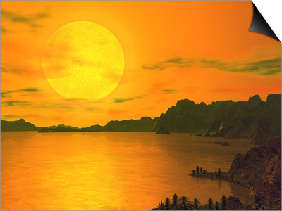 A Hypothetical View across a Rocky and Watery Terrain on Extrasolar Planet Gliese 581 C Poster by  Stocktrek Images