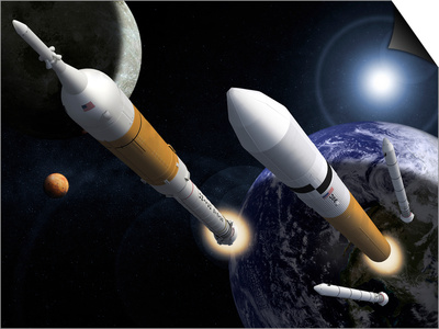 The Ares I Crew Launch Vehicle and the Ares V Cargo Launch Vehicle Posters by  Stocktrek Images