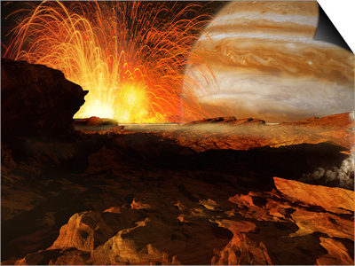 A Scene on Jupiter's Moon, Io, the Most Volcanic Body in the Solar System Prints by  Stocktrek Images