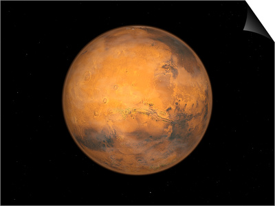 Planet Mars Print by  Stocktrek Images