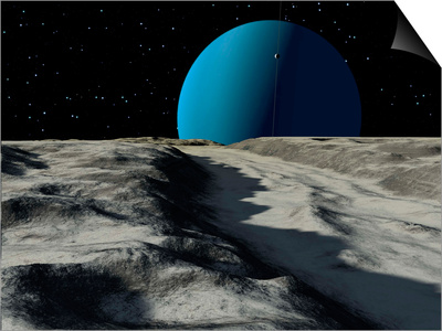 Uranus Seen from the Surface of its Moon, Ariel Prints by  Stocktrek Images