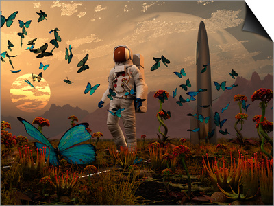 A Astronaut Is Greeted by a Swarm of Butterflies on an Alien World Prints by  Stocktrek Images