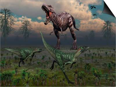 Two Lesothosaurus Dinosaurs Run Out of the Way of a T-Rex on a Rampage Posters by  Stocktrek Images