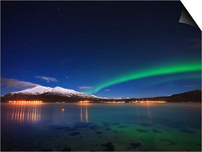 Aurora over Tjeldsundet and Sætertinden Mountain in Norway Posters by  Stocktrek Images