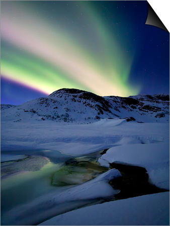 Aurora Borealis over Mikkelfjellet Mountain in Troms County, Norway Prints by  Stocktrek Images