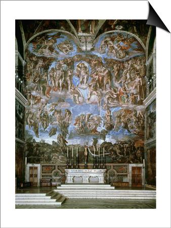 Last Judgement, 1536-41, Fresco, Sistine Chapel, Vatican, Rome Prints by  Michelangelo Buonarroti