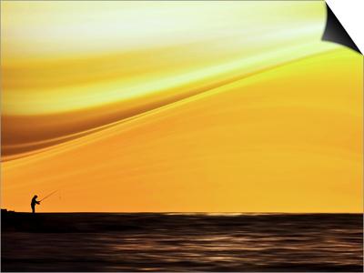 Fishing at Sunset Prints by Josh Adamski