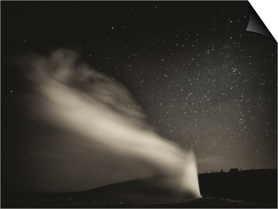 Old Faithful Geyer after Dark at Yellowstone National Park Prints by Rebecca Gaal