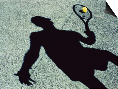 Shadow of a Male Tennis Player Playing Tennis Prints