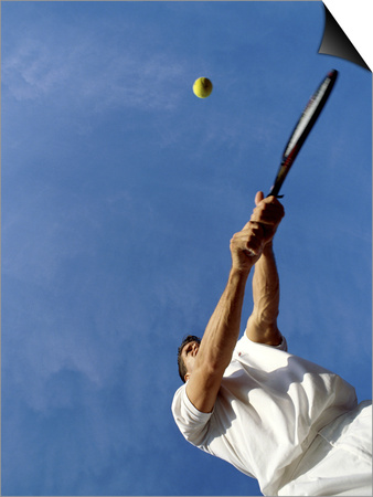 Tennis Player with Blue Sky Prints