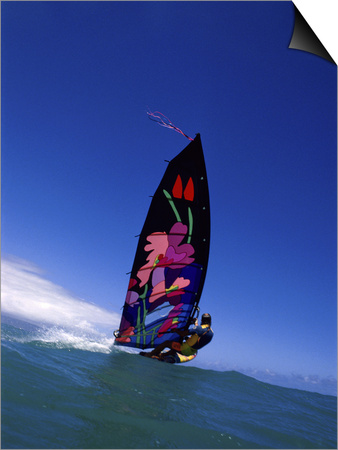 Windsurfer with Colorful Sail Art