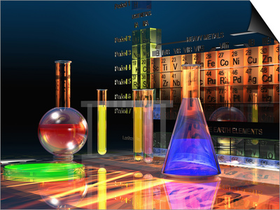 Illustration of the Periodic Table of the Elements Made from Glass Blocks with Laboratory Glassware Poster by Carol & Mike Werner