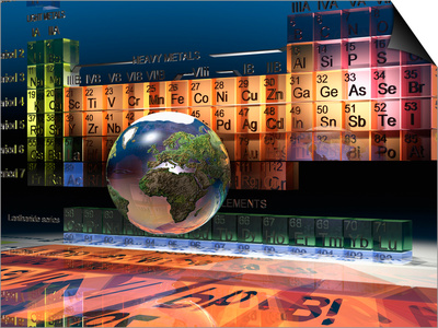 Illustration of the Building Blocks of the Earth, the Periodic Table of the Elements, and a Globe Prints by Carol & Mike Werner