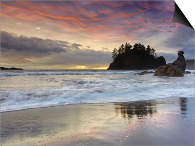 Waves Crashing over Grandmother Rock at Sunset on Trinidad Beach Near Eureka, Northern California Poster by Patrick Smith