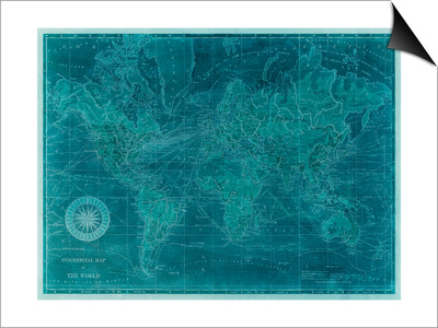 Azure World Map Prints by  Vision Studio
