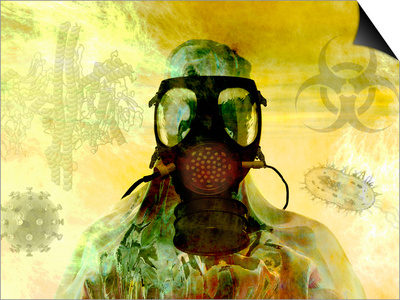 Illustration of Risk, Showing a Person in Hazardous Materials Suit and Face Mask Posters by Carol & Mike Werner
