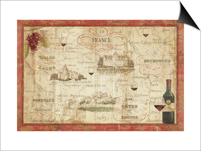 Wine Map Poster by Daphne Brissonnet