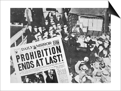 Headline Declaring the End of Prohibition, 6th December, 1933 Poster