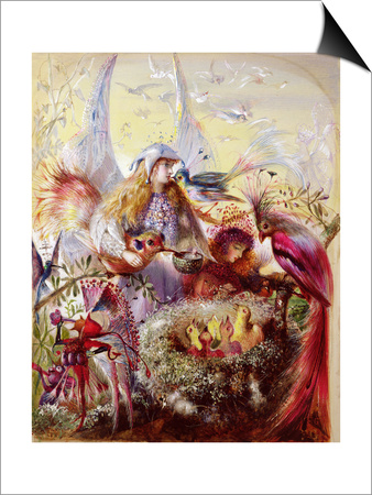 Fairies with Birds (W/C) Posters by John Anster Fitzgerald