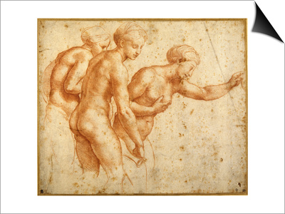 The Three Graces Art by  Raphael