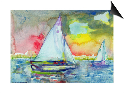 Sailboat Evening Posters by Brenda Brin Booker